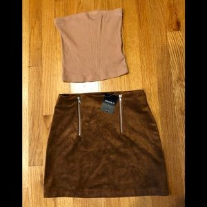 New Forever 21 Camel Mini Skirt with Tube Top!  S